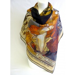 "Scarf (90x90)  ""Affiches"" by MUCHA"