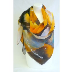 "Scarf (90x90)  polyester ""Les jonquilles"" by Jean Lacalmontie"