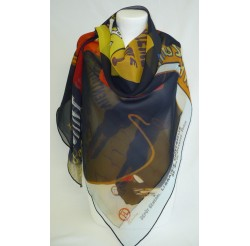 """Scarf (90x90) """"Affiches"""" by Toulouse-Lautrec"""